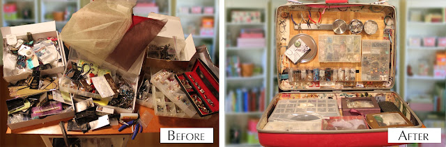 Recycled crafts:  before and after repurposed suitcase