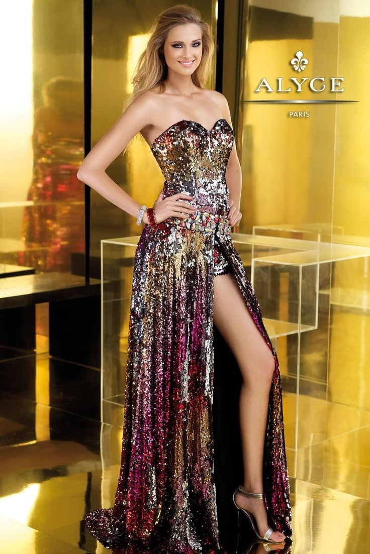 Shiny prom dress with matching high heels for parties