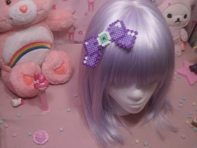 Kawaii Eyeball Perler Bead Hair Bow