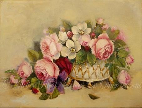 bouquet de roses anciennes iris au vase 18 me. Black Bedroom Furniture Sets. Home Design Ideas