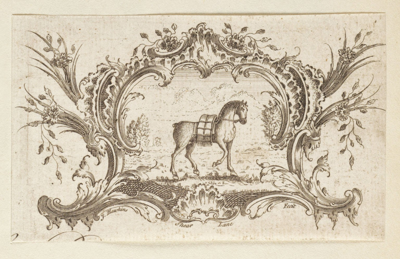 Cartouche With Bridled and Laden Horse