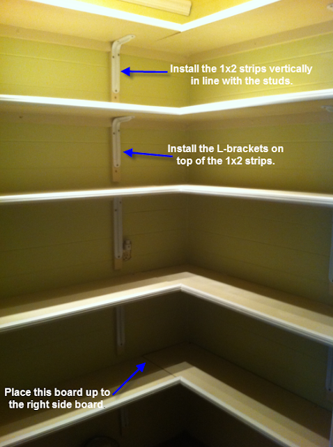 once upon a cedar house how to install pantry shelves. Black Bedroom Furniture Sets. Home Design Ideas