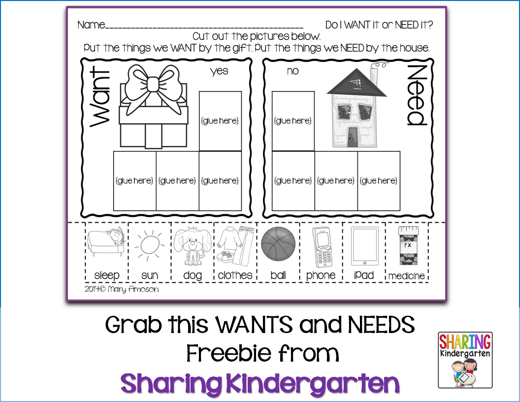 Grab this freebie today for WANTS and NEEDS | KinderLand ...