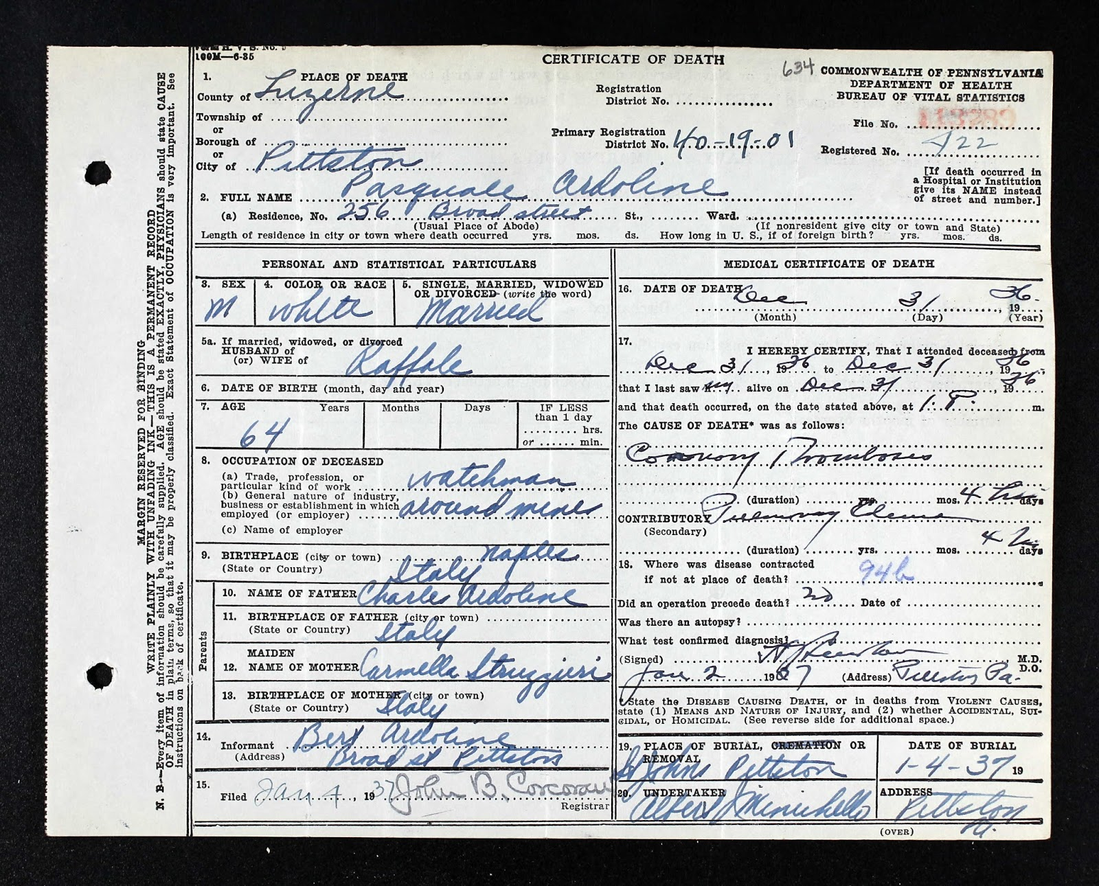 The genealogy of torre le nocelle italy 1936 pittston pa death 1936 pittston pa death of pasquale ardolino pennsylvania death certificate xflitez Gallery