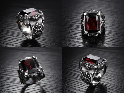Bisnis Olenjewellry Square Ruby Titanium Cincin Pria