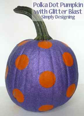 Glittered Polka Dotted Pumpkin | Simply Designing #pumpkins #pumpkindecorating #halloween