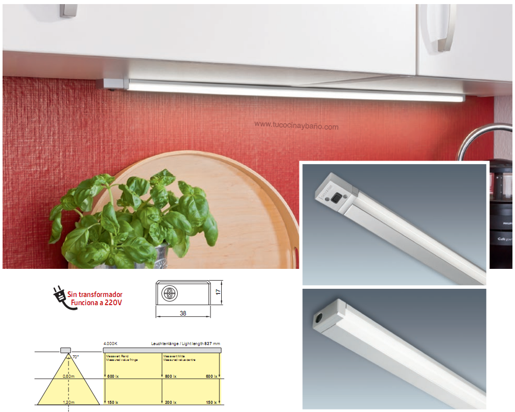 Regleta LED armario cocina luz iluminación  tu Cocina y Baño