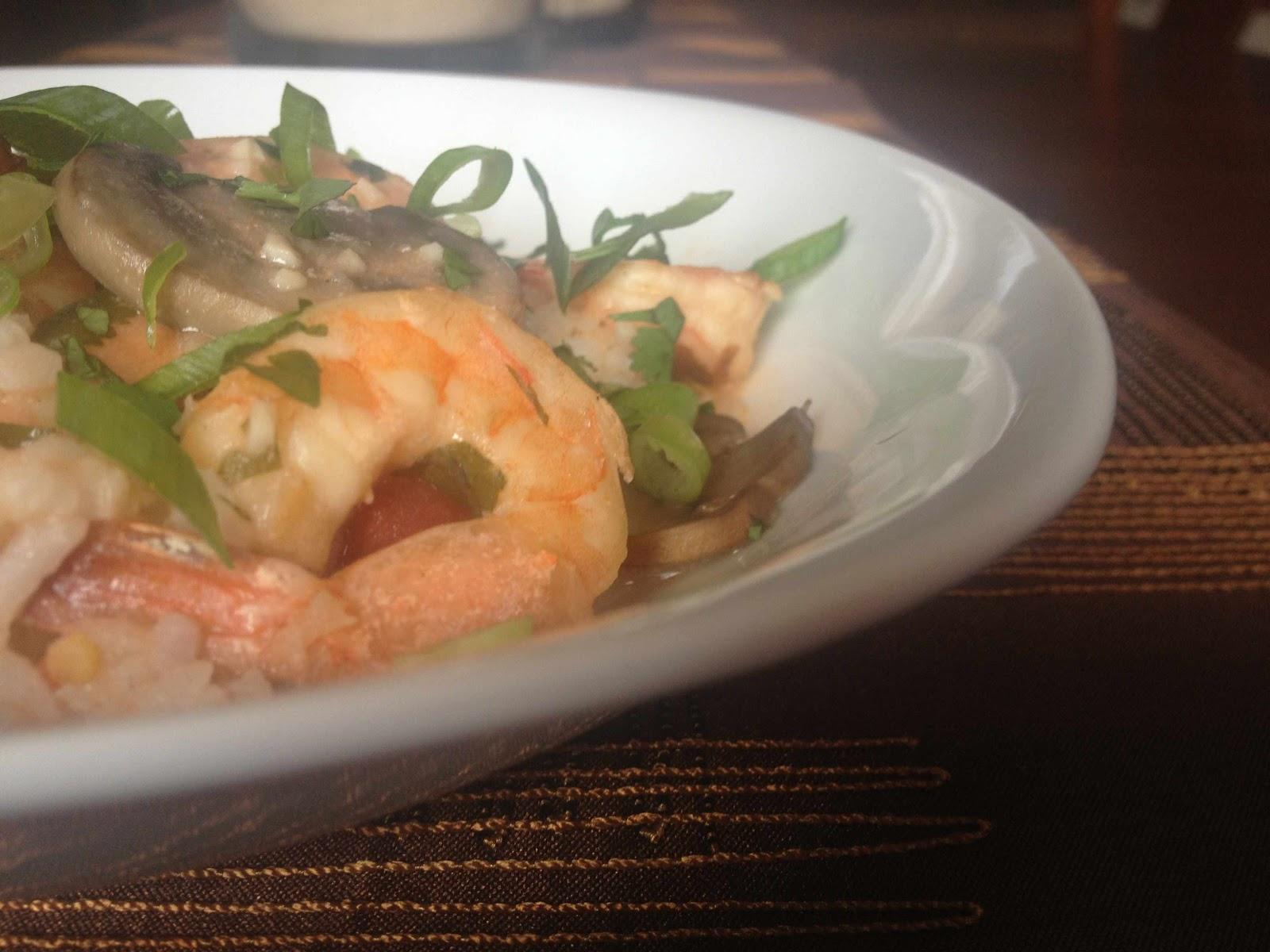 Oregon Transplant: Garlic Shrimp in Coconut Milk, Tomatoes ...