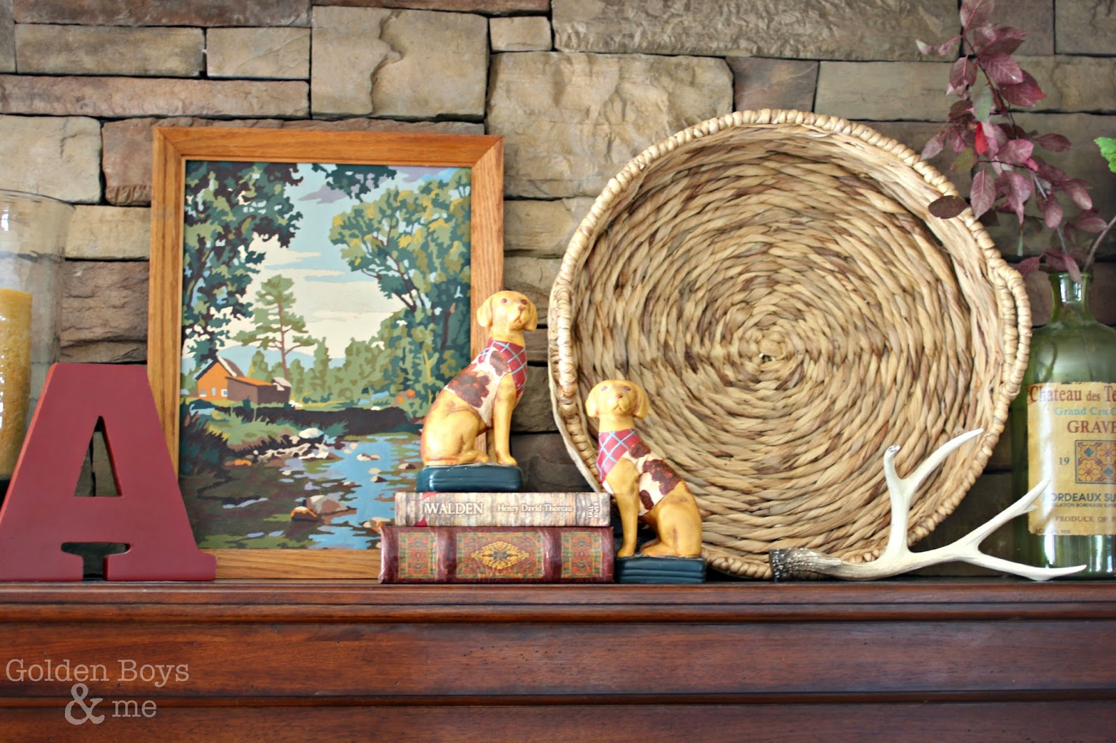 Vintage paint by number and round basket for mantel display-www.goldenboysandme.com