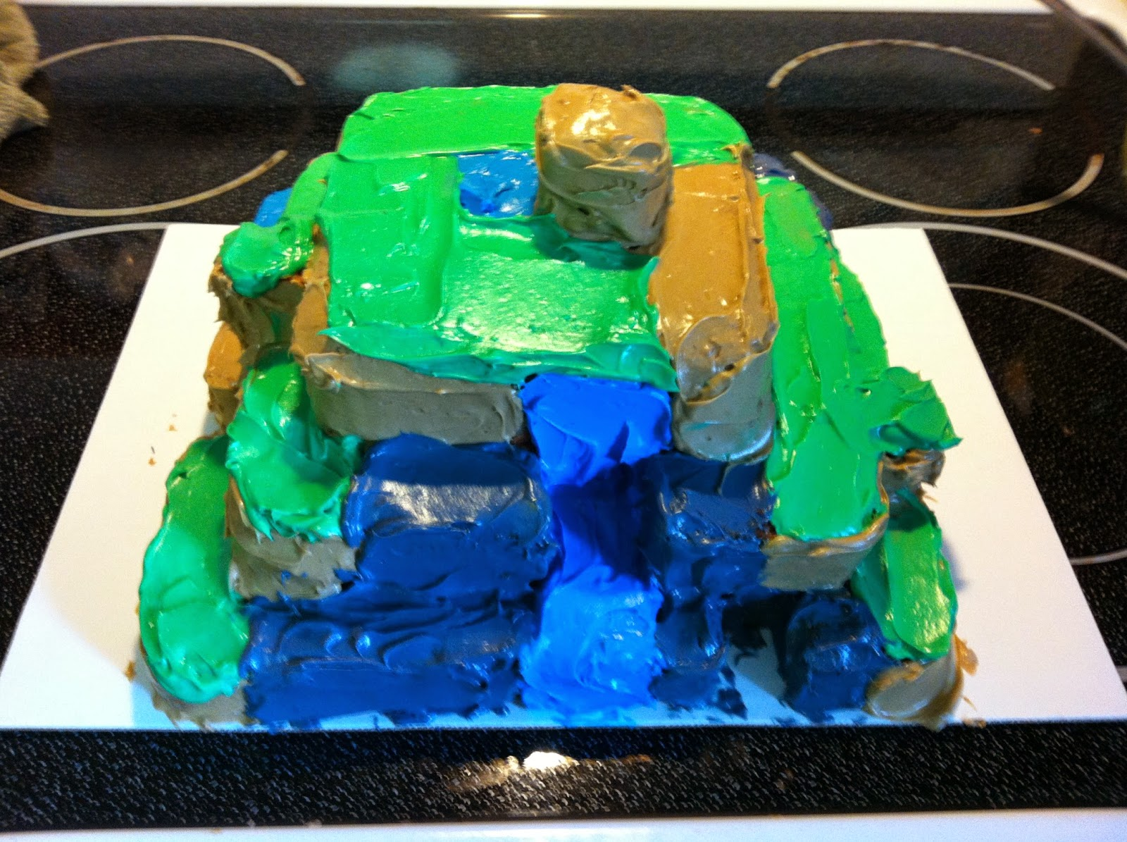 Minecraft cake side 1, featuring a waterfall.