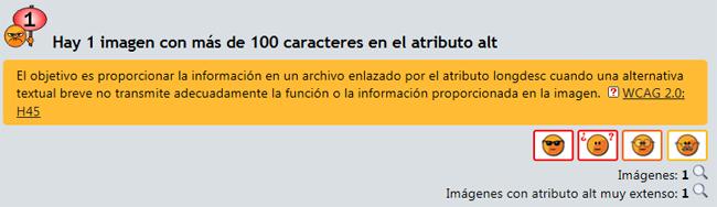 Error de eXaminator que indica que el atributo ALT es demasiado largo porque sobrepasa los 100 caracteres