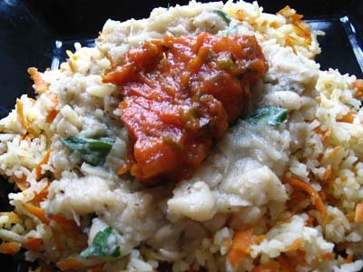 Cannellini Bean Sauce and Herbed Tomato Sauce Over Carrot Rice | Lisa ...