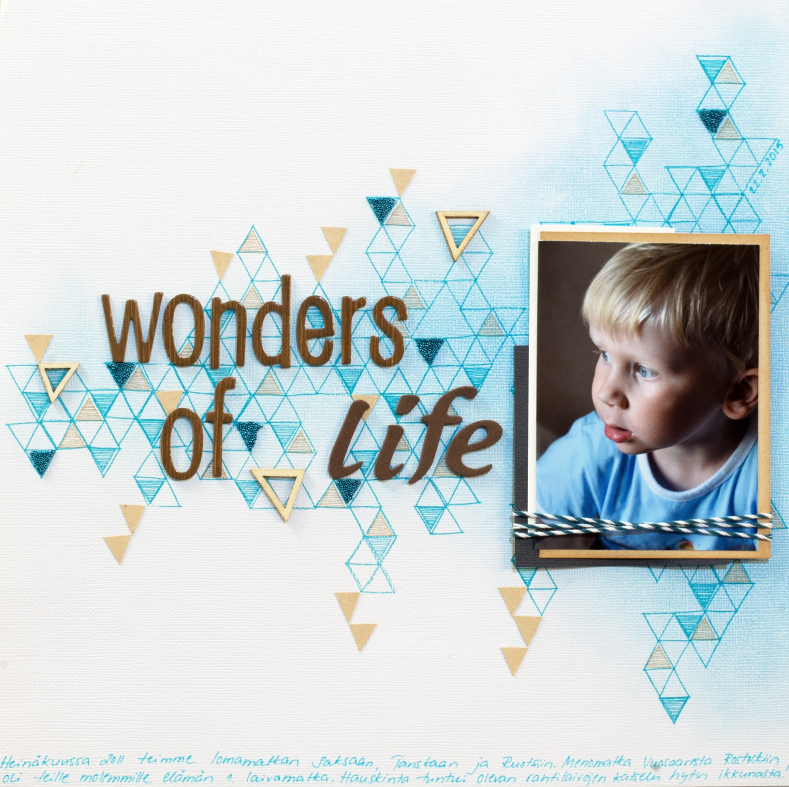 Scrapbooking layout with stamped background for Allt Om Scrap
