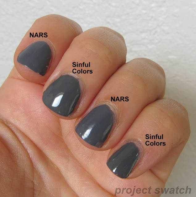 Almost dupes: NARS Stormbird and Sinful Colors Smokin'
