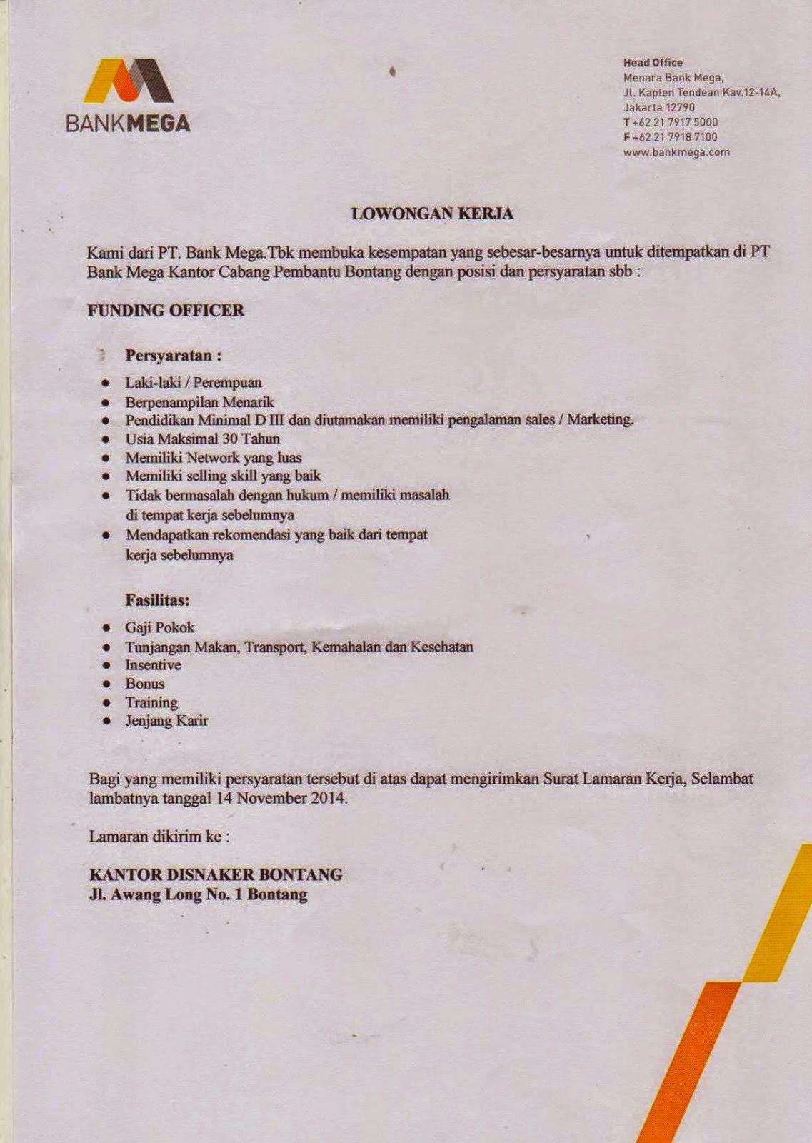 Lowongan  Kerja Funding Officer D3 Bank Mega Bontang
