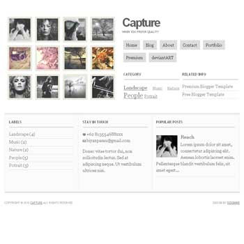 Capture blogger template. gallery and photography blogger template. photo template for blog