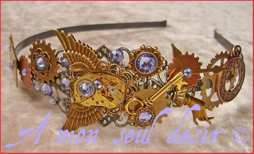 Serre-tête Steampunk Bronze Cuivre Rouages mouvement de montre mécanique strass Swaroski lavande lilas Copper Machinery Headband Headdress