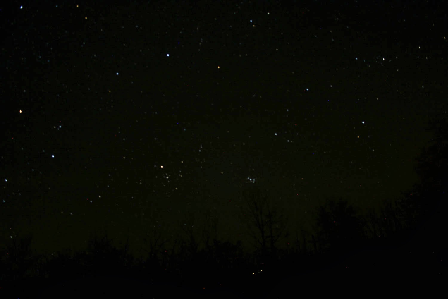 The stars looking towards the back of my property