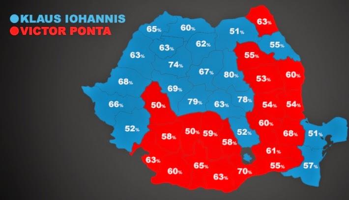 Románia, államelnök-választások, Klaus Johannis, Victor Ponta, szavazás-térkép, Székelyföld, Kovászna megye, Hargita megye,