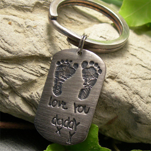 Baby Footprint Dog Tag Keyring, Personalised Recycled Silver Keepsake