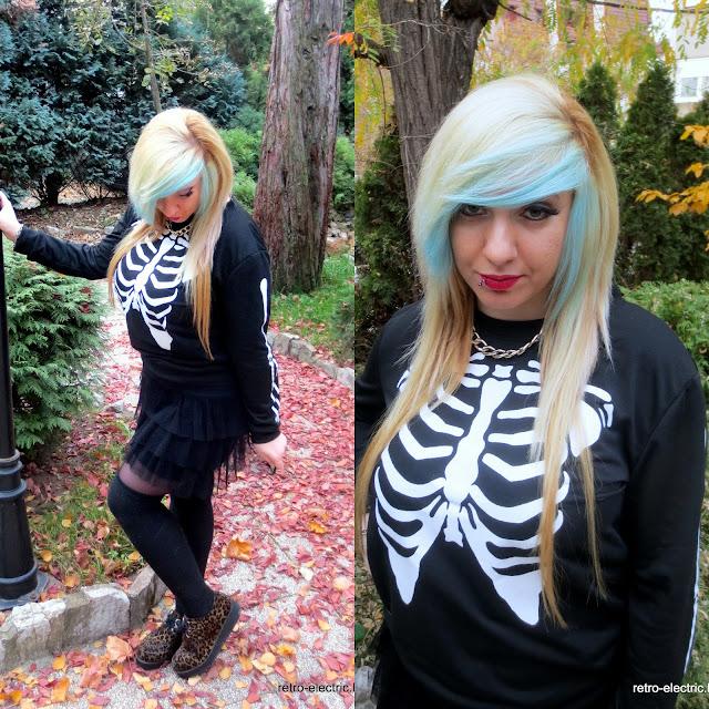 emo goth girl skeleton print sweatshirt leopard creepers blue hair blonde