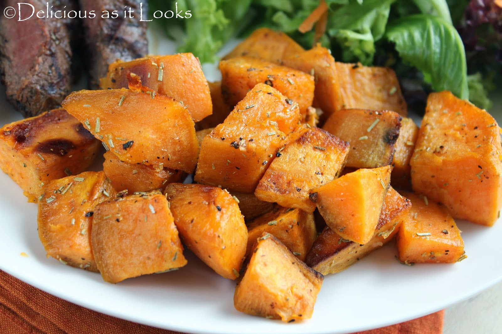 Rosemary Roasted Sweet Potatoes  /  Delicious as it Looks