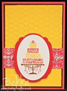 Beautiful Birthday Cake Card by Stampin' Up! Demonstrator Bekka Prideaux - you can get all the supplies for this card from her