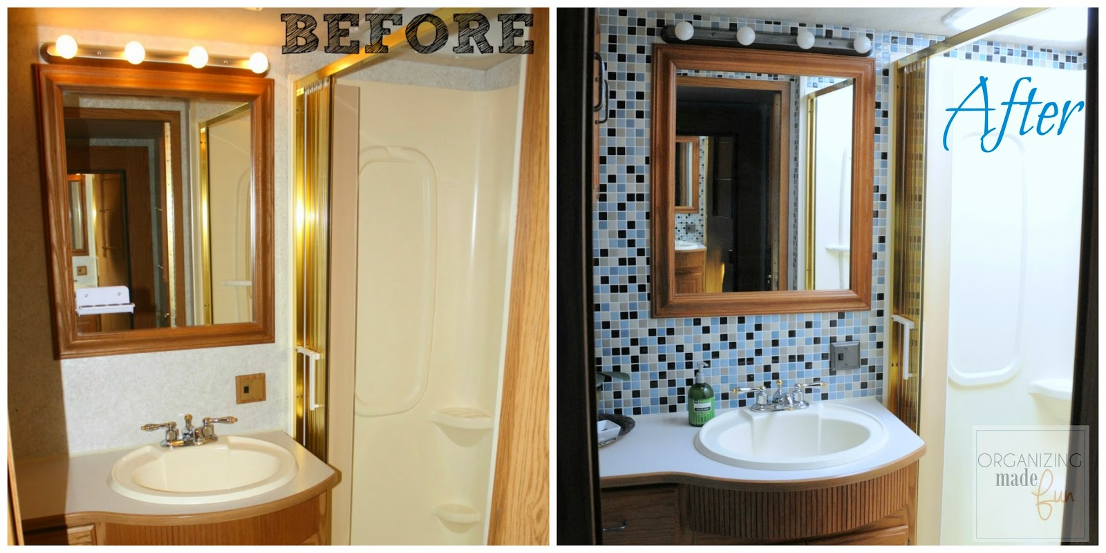 Before and After of RV motorhome bathroom transformation :: OrganizingMadeFun.com