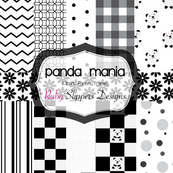 Black and White digital papers: chevron, geos, dots, gingham, panda bears, flowers, stripes, grids