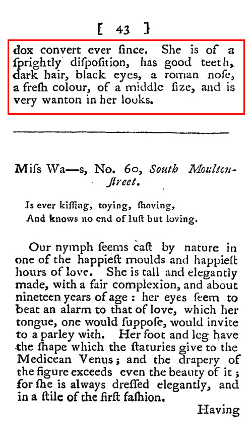 On The Main Line A 1793 Review Of A Jewish Prostitute In London