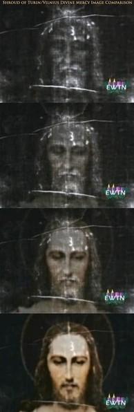 La imagen de la Divina Misericordia y la Sábana Santa