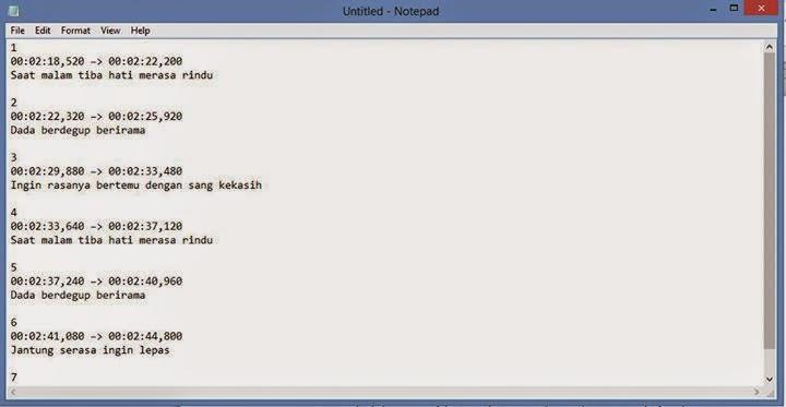 Membuat Subtitle Menggunakan Notepad