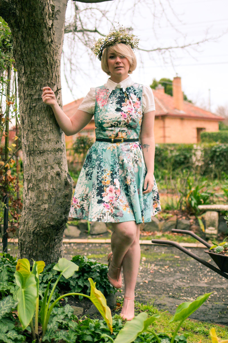 @findingfemme wearing Closet dress from Modcloth, and lace blouse with Bettie Page heels and flower crown.