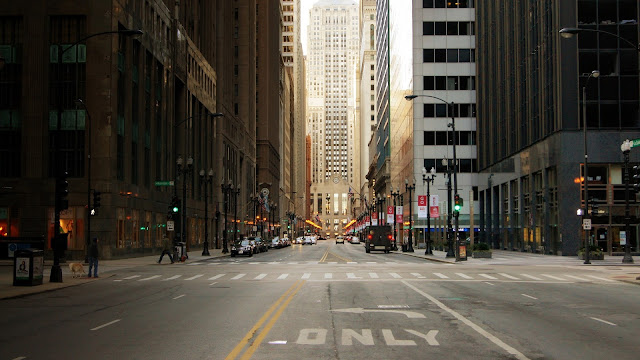 City Street of Chicago in USA Skyscrapers HD Wallpaper