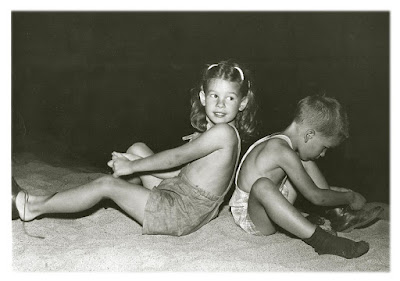 Robin Atkins and Thom Atkins, sister and brother, circa 1947