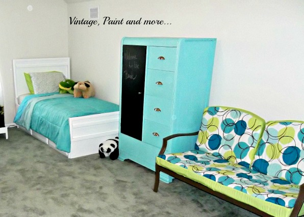 Vintage, Paint and more... beach themed teen hangout room done in bright beach colors - diy painted thrifted furniture