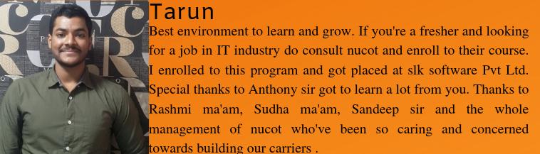 Tarun got placed as a Software Trainee