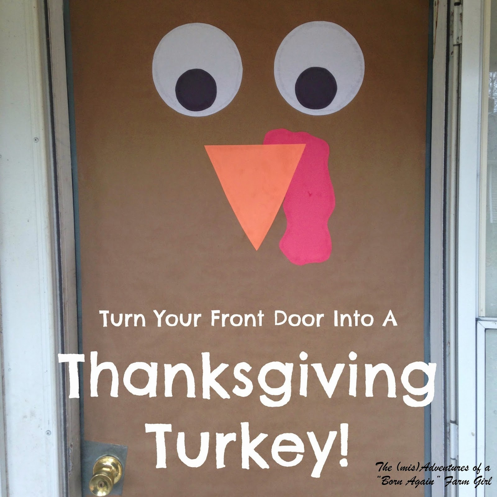 Thanksgiving turkey decor - Turn Your Front Door Into A Thanksgiving Turkey