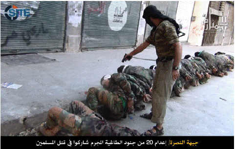 A member of Al Nusrah Front executes captured Syrian soldiers.