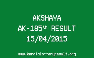 Akshaya AK 185 Lottery Result 15-4-2015