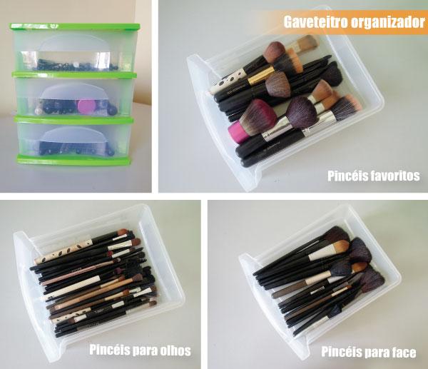 gaveteiro organizador para maquiagem - pinceis