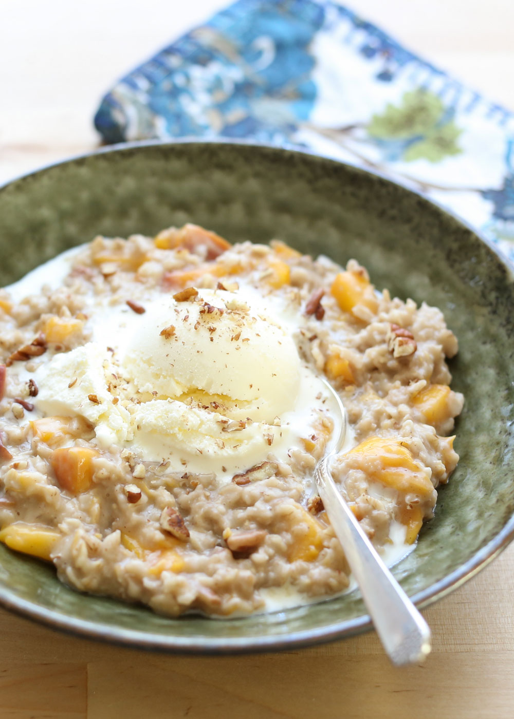 Peaches and Cream Oatmeal just might be the best oatmeal you'll ever make! recipe by Barefeet In The Kitchen