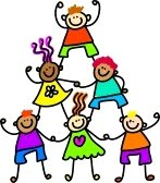 A group of diverse children forming a support tower.
