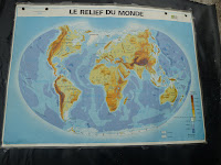french antique relief world map