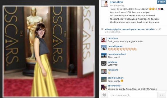 La actriz Anna Allen se inventa su presencia en los Oscar