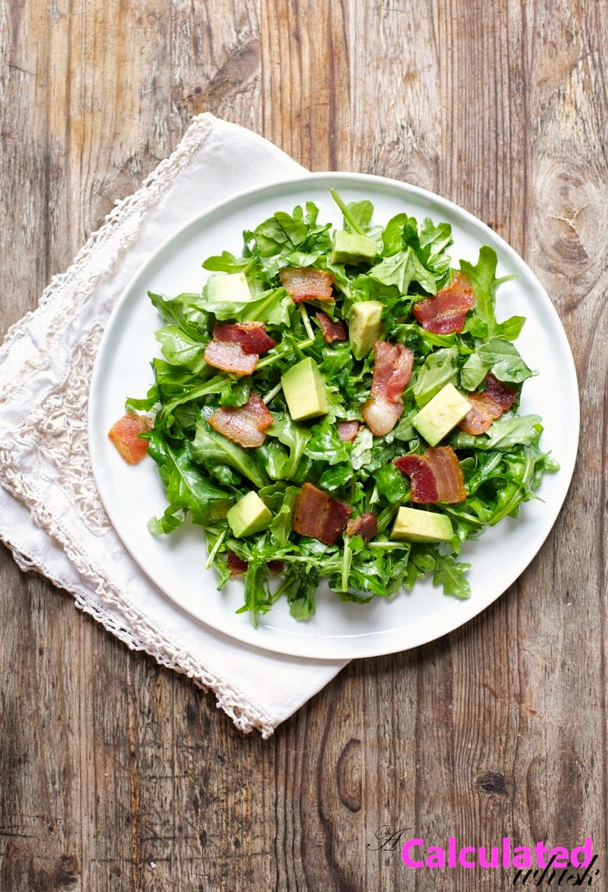 Bacon, Avocado, and Arugula Salad with Sherry Vinaigrette | acalculatedwhisk.com