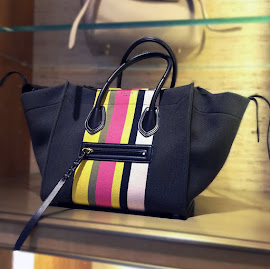 Céline Multicolor Striped Canvas bag.