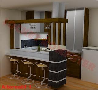 perancangan interior desain dapur mini bar