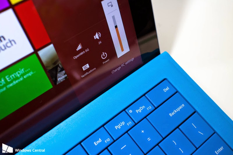 How to adjust the screen brightness with the Surface Pro 3 Type Cover