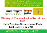 MINISTRY OF COMMUNICATION RECRUITMENT 2016 FOR CLERK & ASSISTANT POSTS